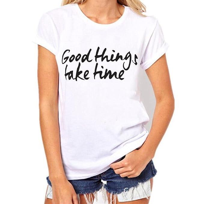 CICIYONER Mujer Camisa, Camisa de Manga Corta de la Camiseta de la Manga de la Camiseta de la impresión de la Letra del tamaño Extra Grande: Amazon.es: Ropa ...