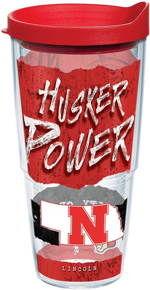 Tervis 1218396 Nebraska Cornhuskers College Statement Tumbler with Wrap and Red Lid 24oz, Clear