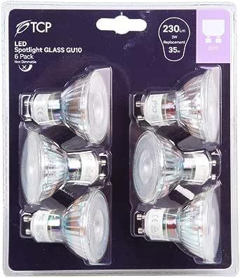 Paquete de 6 bombillas LED TCP GU10 de luz blanca cálida, 3000 K, equivalente a 35 W, lámpara halógena, no regulable, 230 lúmenes, ángulo de haz de 36°, paquete de 6: Amazon.es: Iluminación