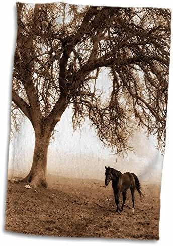3dRose Doreen Erhardt Horses - Western Sepia Toned Horse on a Ranch with an Oak Tree - 12x18 Hand Towel (twl_202972_1)