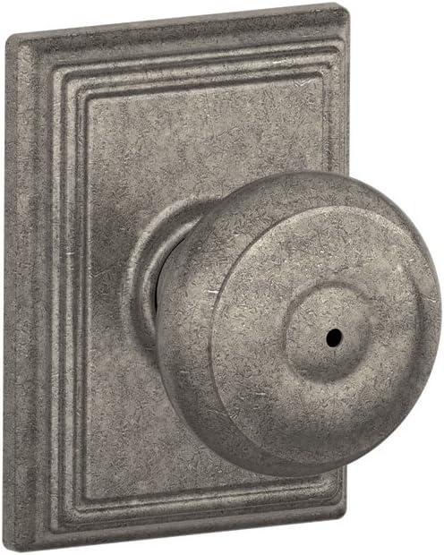 SCHLAGE F40 GEO 621 ADD Lock Company F40GEO621ADD Addison Collection Georgian Privacy Knob, Distressed Nickel