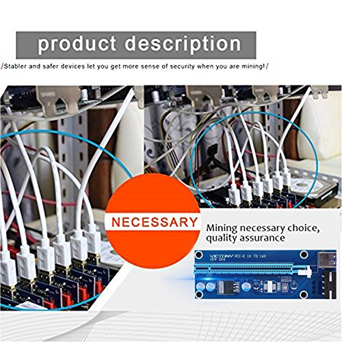 VICTONY 6-Pack 4 Pin PCI-E 16x to 1x Powered Riser Adapter Card w/60cm USB 3.0 Extension Cable & MOLEX to SATA Power Cable - GPU Riser Adapter - Ethereum Mining ETH+MintCell 6 Cable Ties by VICTONY (Image #5)