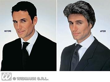 Dark Grey Quiff Lawyers Wig Rock N Roll Rocker Business Man Mullet Fancy Dress
