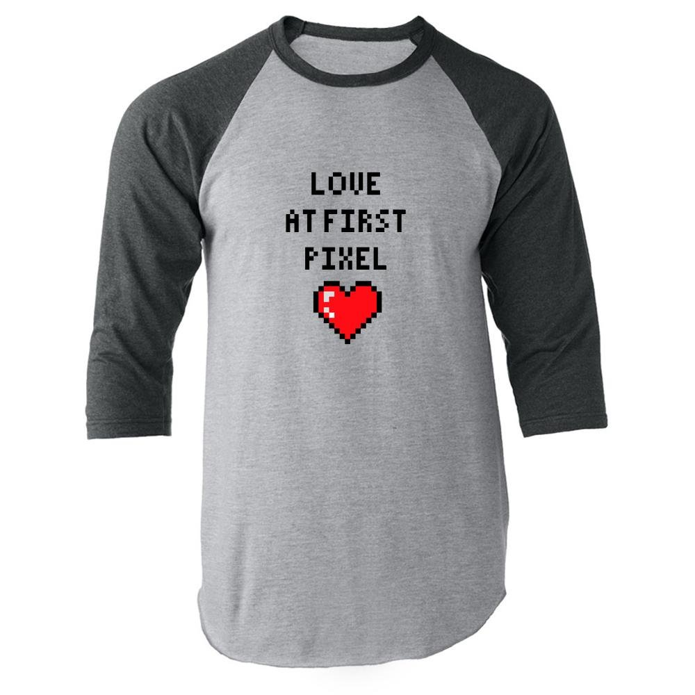 Love At First Pixel Gray 3XL Raglan Baseball Tee