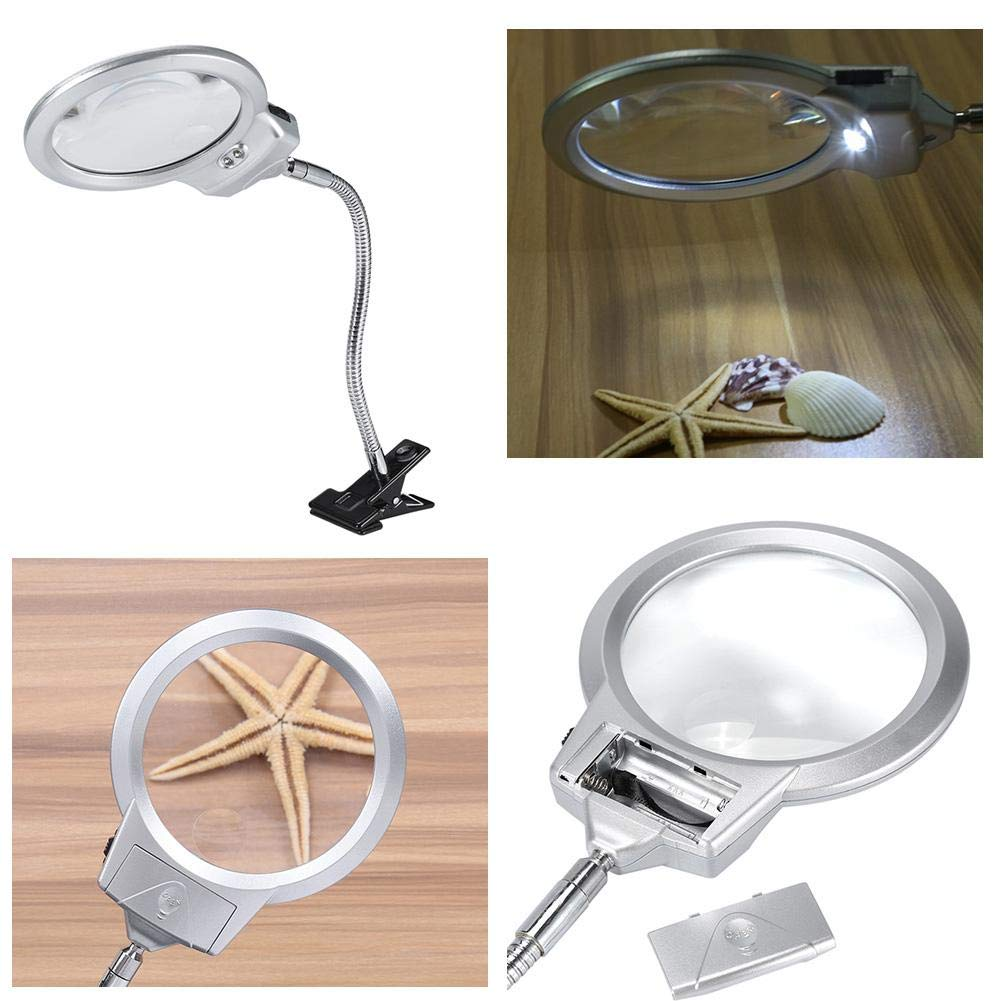 Inspection Crafts 2.25X to 8X Lighted Desktop Magnifier Large Lens Table Top Desk Lamp Lighted Magnifier Magnifying Glass With LED Light Clamp for Hobby Reading Books