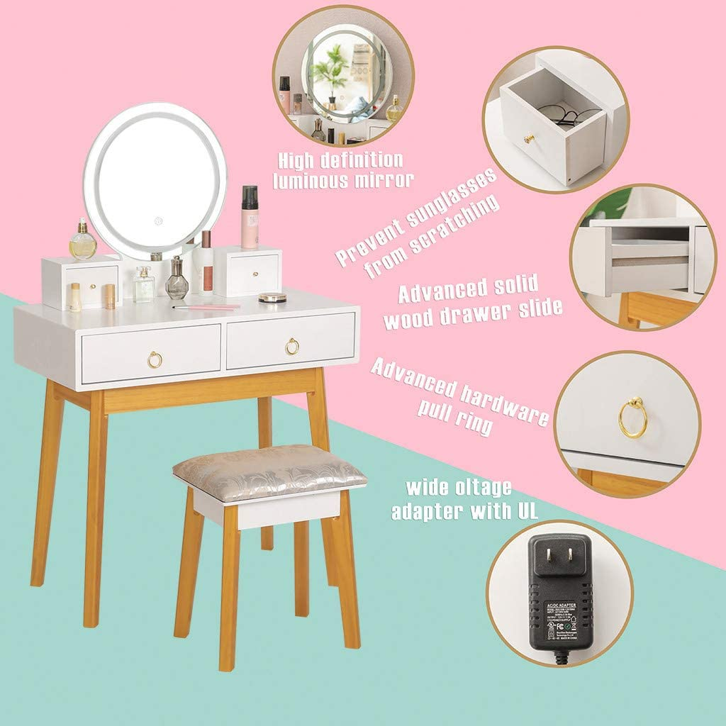 White Riforla Vanity Set with Touch Screen Dimming Mirror 3 Color Lighting Modes Dressing Table with 4 Sliding Drawers Modern Bedroom Makeup Table and Cushioned Stool Set for Women Girls