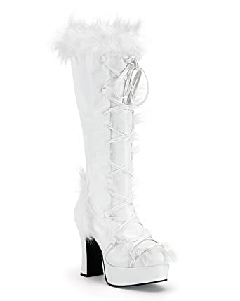 Amazon.com: Womens Viking Boots White Faux Fur Boots 4 Inch Heels ...