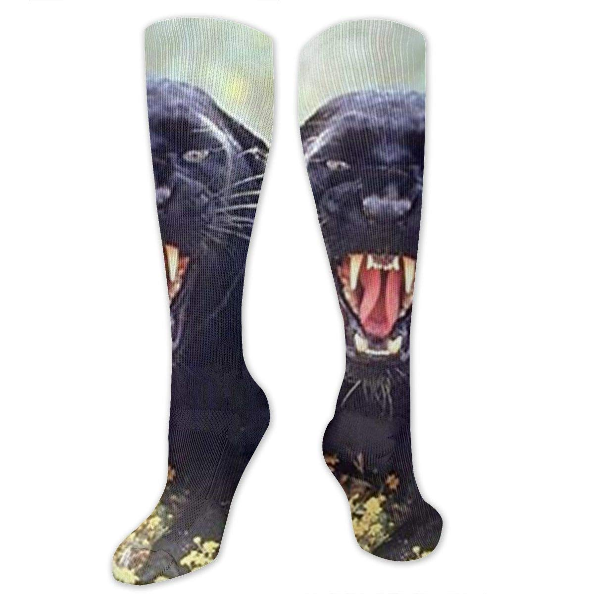 Snarling Black Panther Wildlife Animal Mens//Womens Sensitive Feet Wide Fit Crew Socks and Cotton Crew Athletic Sock Leopard