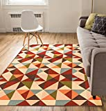 Kitchen Rugs Geometric Non-Skid / Slip Rubber Back Antibacterial 5x7 ( 5' x 7' ) Area Rug Lex Casual Multi Color Red Geometric Modern Thin Low Pile Machine Washable Indoor Outdoor Kitchen Hallway Entry