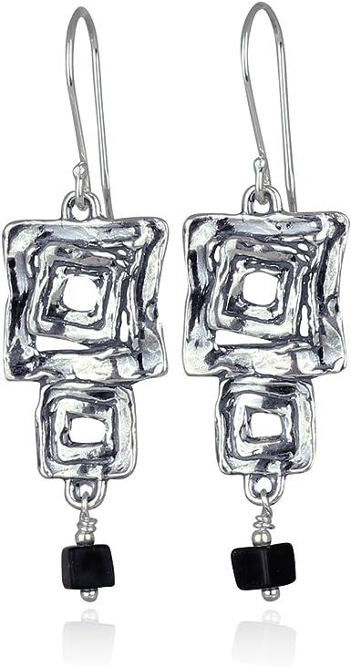 925 Sterling Silver Black Onyx Square Dangle Earrings