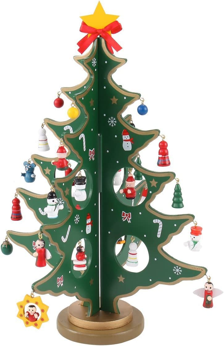 Rosette Hair 12Inch Funny Desktop Wooden Christmas Tree Decor Christmas Toy Set with 24 Mini Ornaments