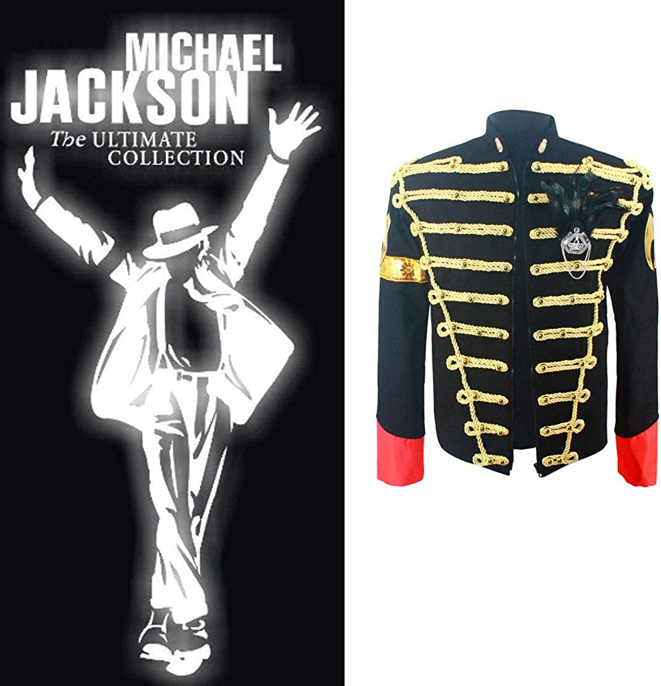 Thriller9 Michael Jackson Jacket Rare Classic MJ England Retro Jacket with Feather Brooch Slim Handmade Outwear