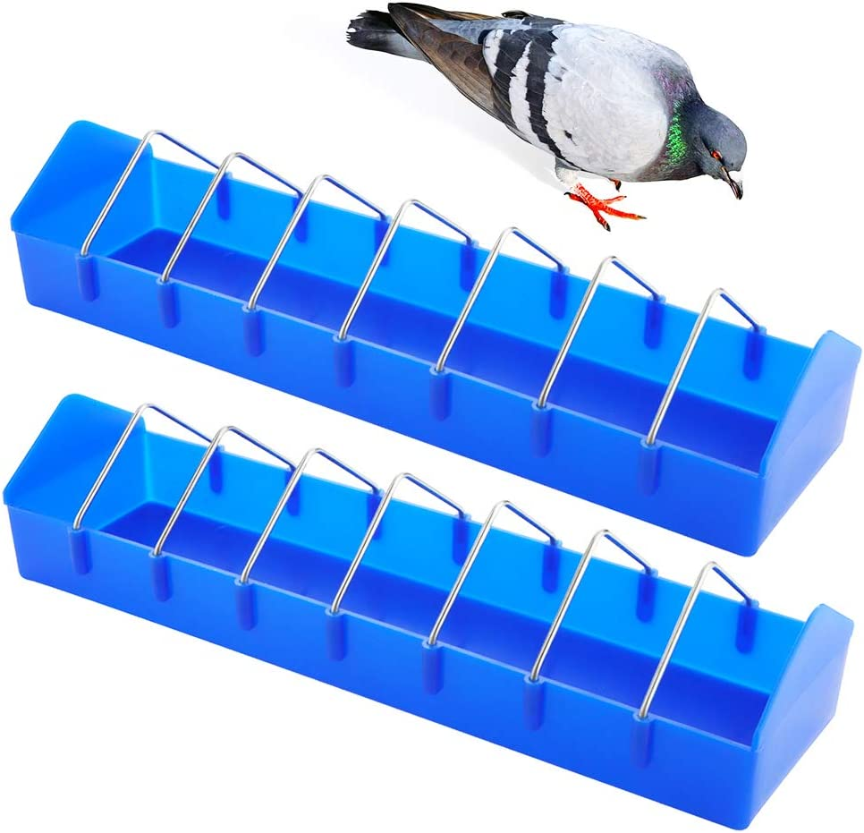 2 Pack Large Pigeon Feeder Thick Durable Slot Container Feeding Dish Food Dispenser Tool for Pigeon Chicken Duck Bird Poultry ( Length: 16