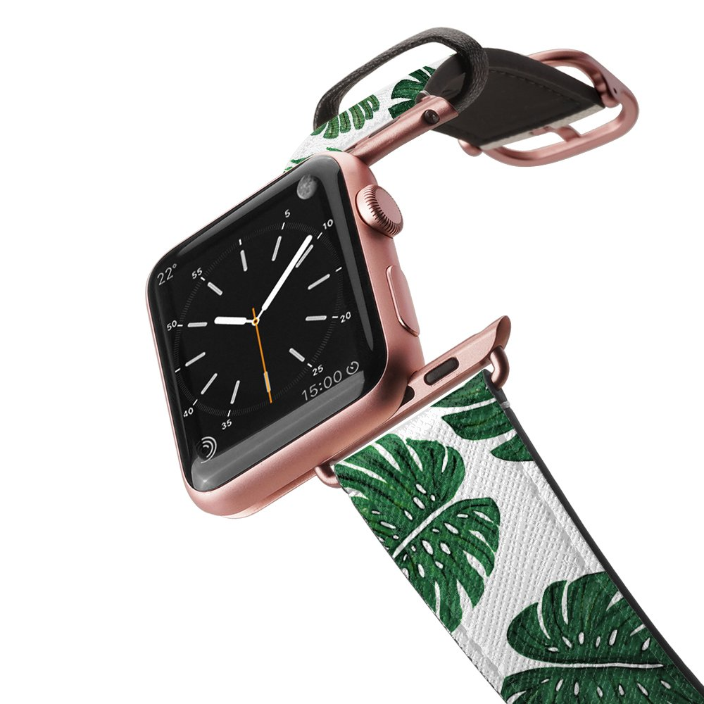 Casetify Bands Compatible for Apple Watch Bands 38mm 42mm with Rose Gold Stainless Steel Buckle Replacement Band for iWatch Apple Watch Series 4 Series 3 Series 2 Series 1 (Tropical Painted Leaves)