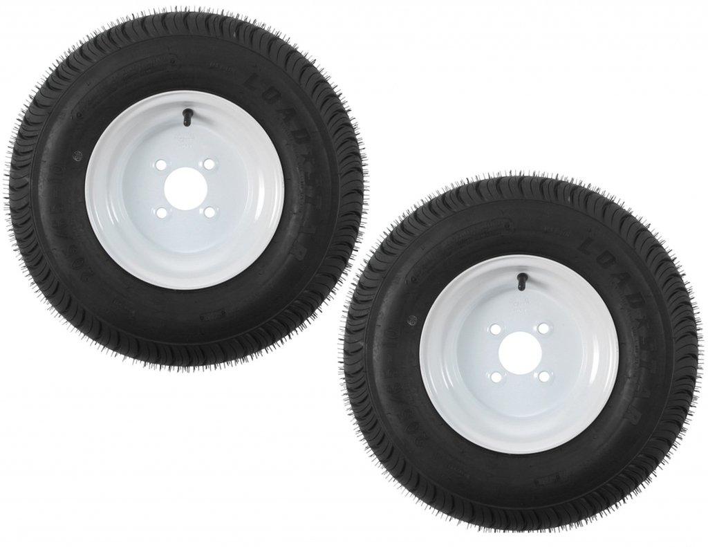 Two Trailer Tires & Rims 20.5 X 8 X 10 205/65-10 20.5/8-10 20.5/800-10 4H White