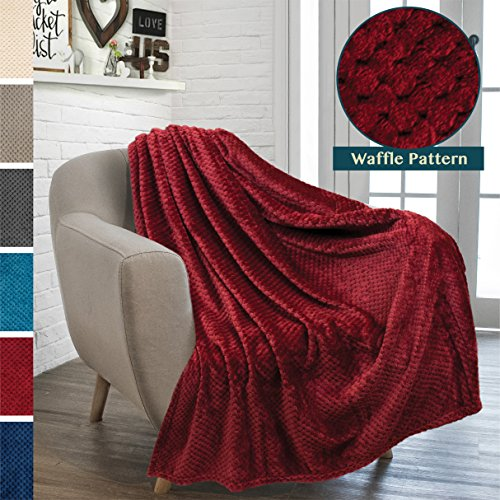 PAVILIA Premium Flannel Fleece Throw Blanket for Sofa Couch | Wine Maroon Waffle Textured Soft Fuzzy Throw | Warm Cozy Microfiber | Lightweight, All Season Use | 50 x 60 (Maroon Wine)