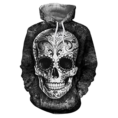 Unisexo Encapuchado Suéter, 3D Cráneo Impresión Plus Size Chaqueta para Mujer y Hombres (Negro Oscuro, XL)