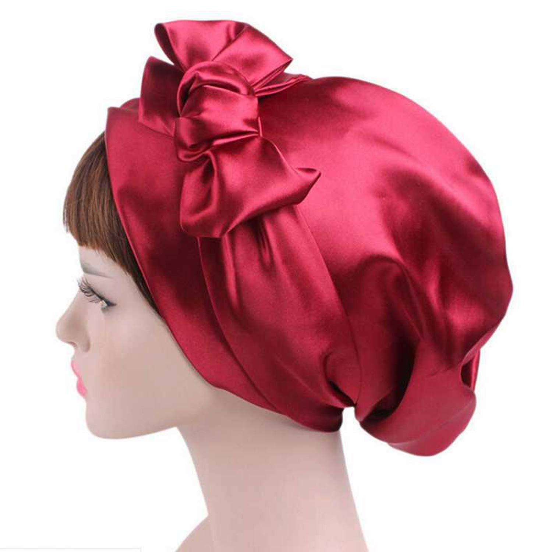 Women Lady Big Bowknot Muslim Hat India Caps Female Cancer Chemo Hat Beanie Scarf Turban Head Wrap Cap