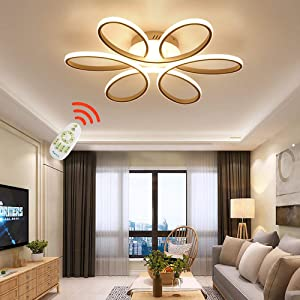 ZipLighting Modern LED Ceiling Light Dimmable Ceiling Lighting with Remote Round Ceiling Light Fixture Ceiling Lamp Flower Shape for Dinning Room Bedroom Kitchen Hallway 80W Decorative Lamp