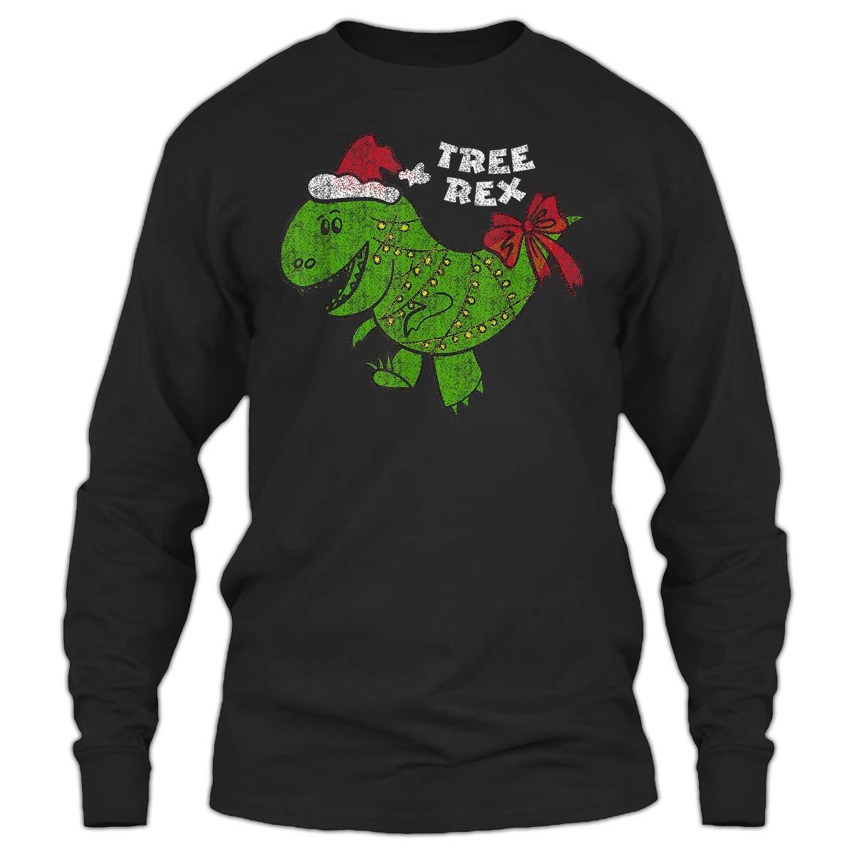 Sunwind Christmas Tree Rex Dinosaur For Men Women Black And Navy Shirts