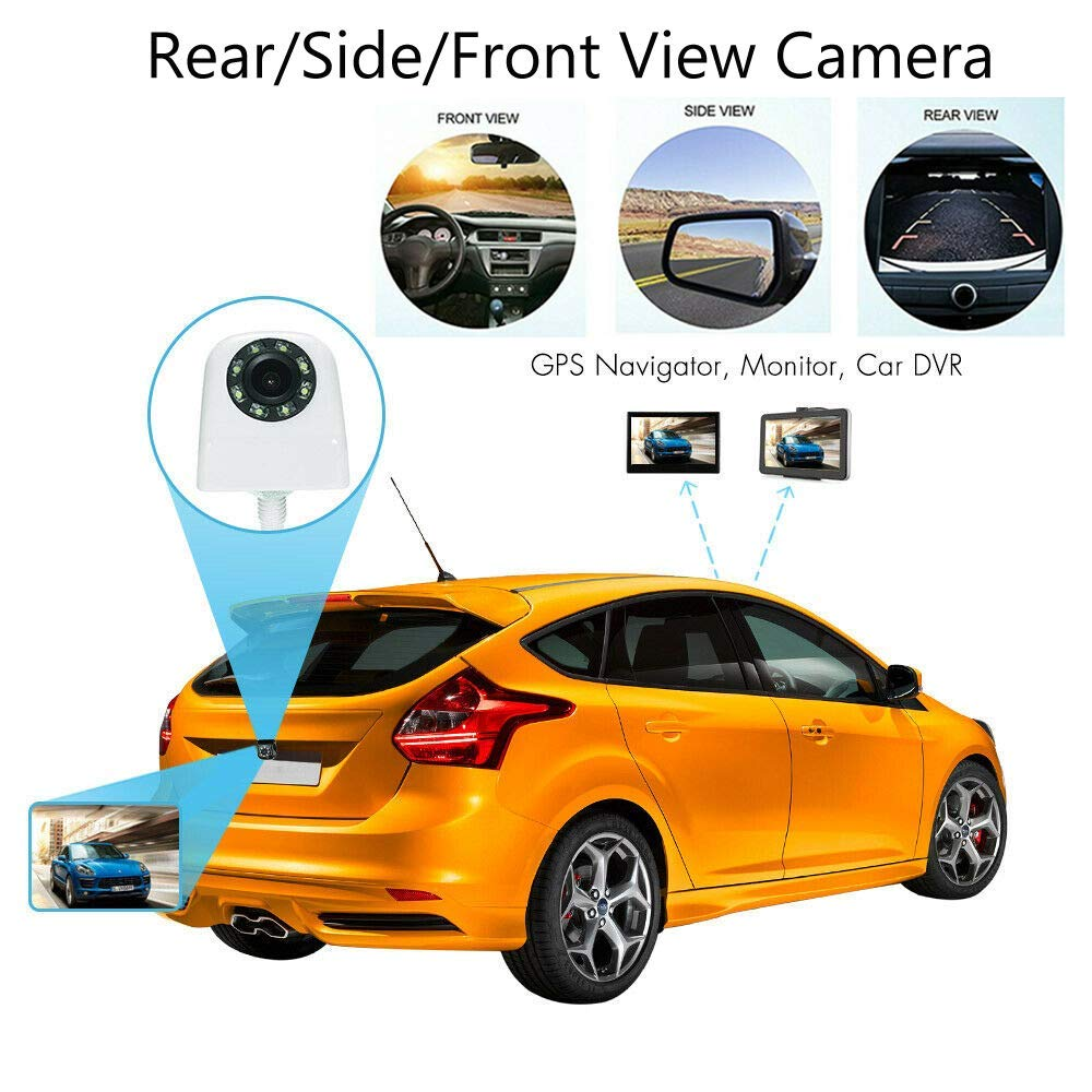 Black Sunsweet Vehicle Backup Camera Reverse Car Rear View Backup CCD Camera with 8 LEDs IR Night Vision Waterproof Wide Angle Universal Front//Side//Rear Parking Camera