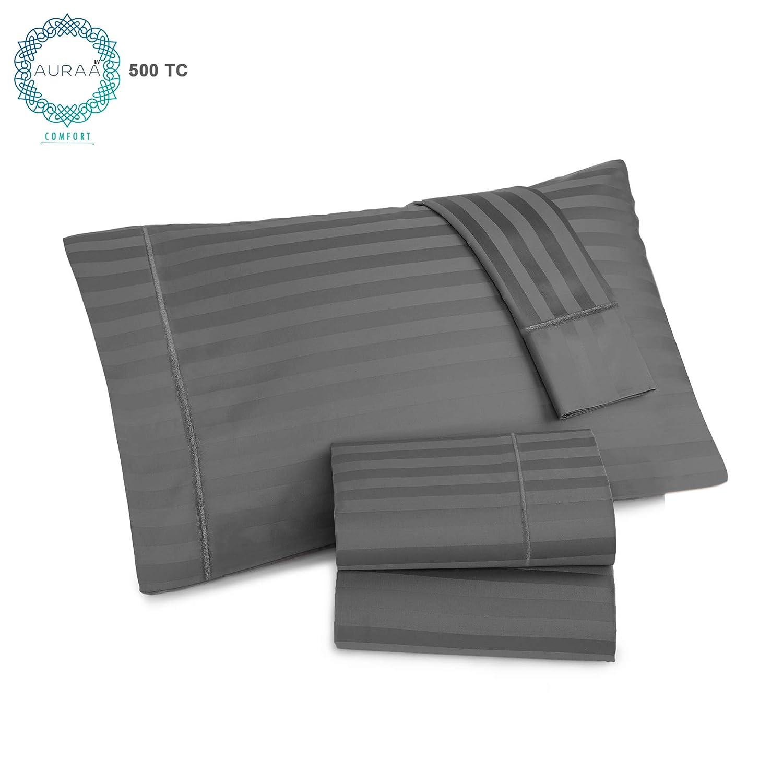 Auraa Comfort 500 Thread Count 100 Usa Supima Long Legging Cotton Rich 4pc Staple Sheet Set4 Pc Set Queen Sheets Sateen Weave Damask Stripe Sheetshotel