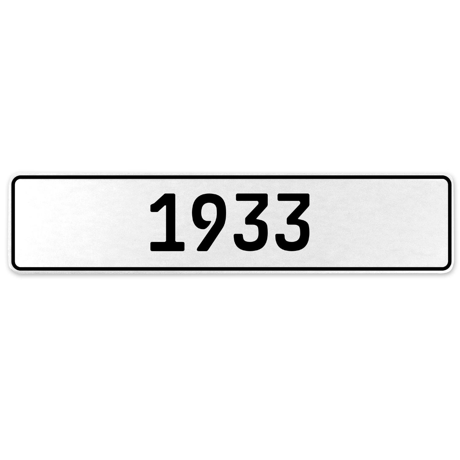 Vintage Parts 553176 1933 Year White Stamped Aluminum European License Plate