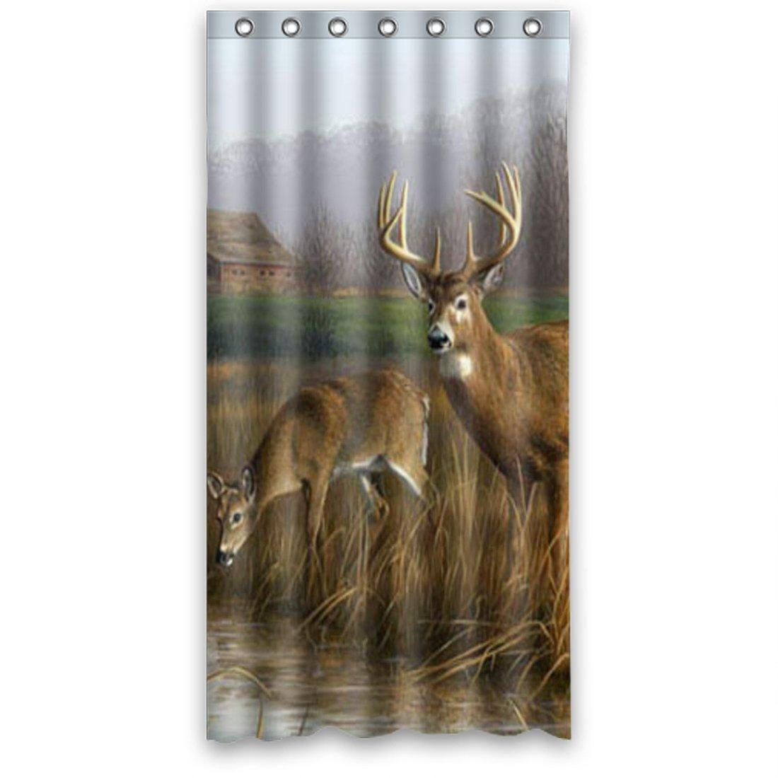 "Delightful Style Friendly Cute Gentle Run freely Wildlife Animals Deer Waterproof Polyester Fabric Bath Shower Curtain 36"" x 72"""