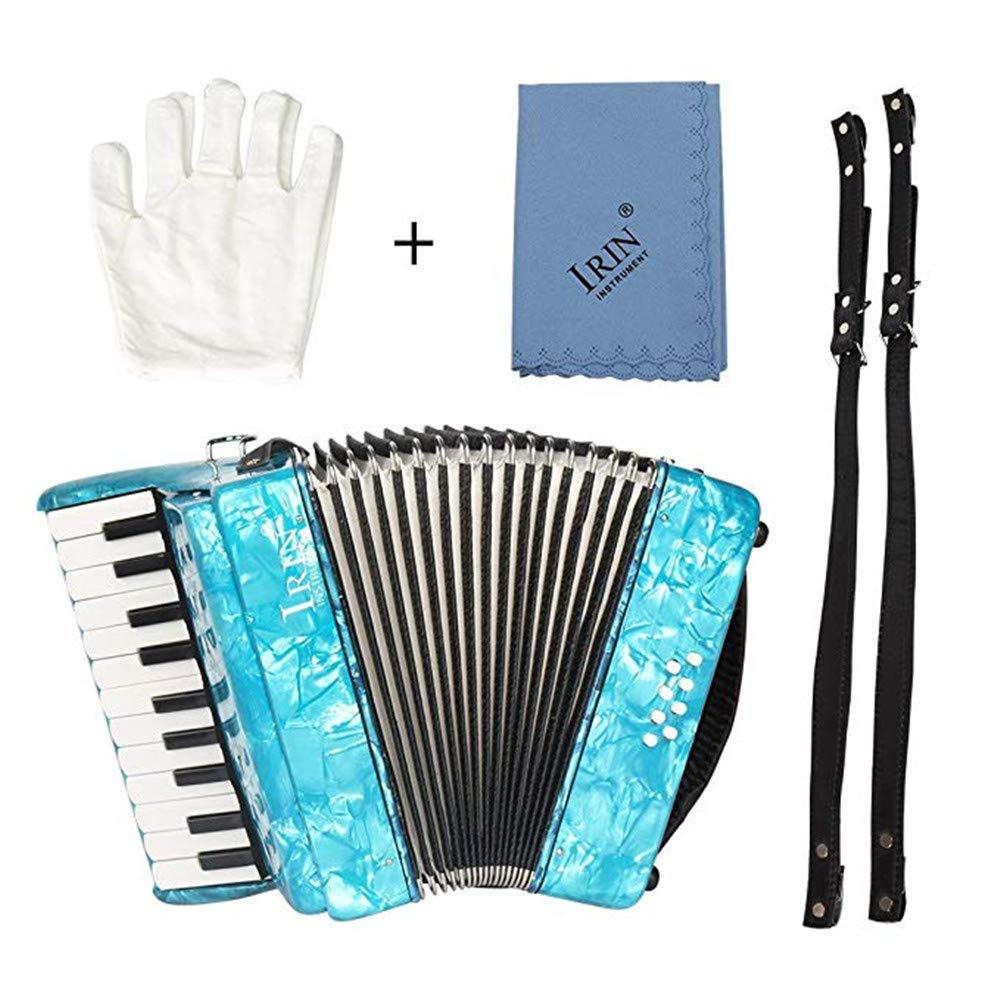 Accordions 22-Key 8 Bass Piano with Straps Gloves Cleaning Cloth Educational Music Instrument for Students Beginners Childern,Blue