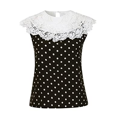 Sleeveless Blouse, Womens Lace Neckline Stitching Wave Point Dot Top Shirt FORUU (S,