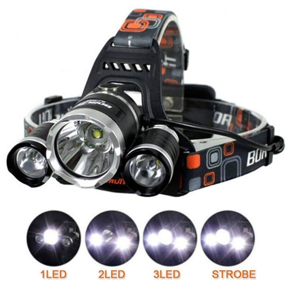 Waterproof Brightest 6000 Lumen Adjustable Headlamp Flashlight Torch 3 CREE XM-L T6 LED for Reading Outdoor Running Camping Fishing Walking (Not Include Charger)