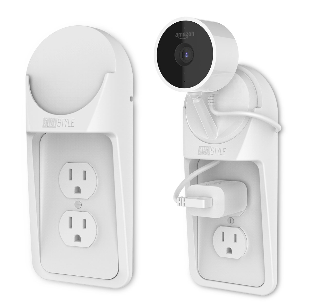 AhaStyle AC Outlet Shelf Wall Mount for Amazon Cloud Cam [White] - [Space Saving Solution with Built-In Cable Channel] [Easy Install with Hardware Included]
