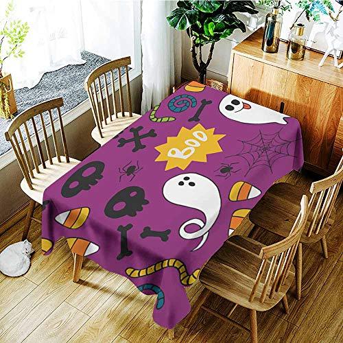 AGONIU Waterproof Table Cover,Halloween Seamless pattern16,High-end Durable Creative Home,W60x84L]()