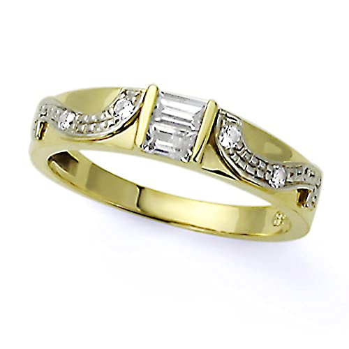 Pequeños Tesoros - Anillo de mujer - El oro dos tonos (14k) - Boda y de Compromiso con Baguette Circonita Herradura Anillo De Matrimonio: Amazon.es: Joyería
