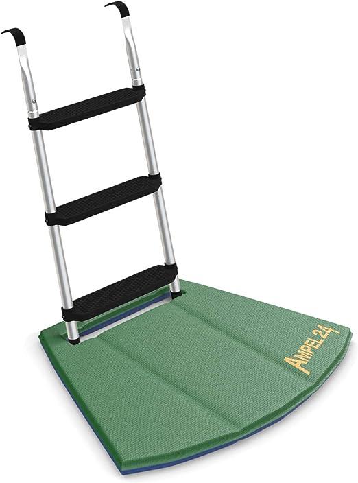 Ampel 24 - Escalera para Cama elástica con Alfombrilla de Suelo | ca 86 cm | 3 escalones Anchas | facilita la montada en el trampolín | Plata: Amazon.es: Jardín