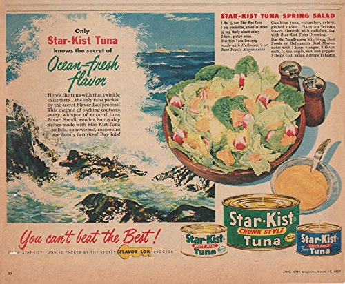 1957-star-kist-tuna-ocean-fresh-flavor-vintage-color-ad-usa-beautiful-original-