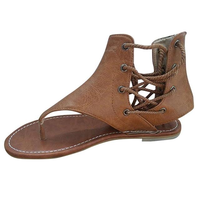 Sandalias Mujer Verano 2019 Tacon,YiYLunneo Sandalias Romanas Chancletas De Tiras Zapatos Planos del Tobillo Zapatillas Dama Flip Flop Shoes: Amazon.es: ...
