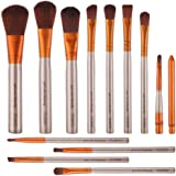 ULTPEAK Makeup Brush Set, 12 Pcs Professional Makeup Brush Set Premium Synthetic Foundation Powder Concealers Eye Shadows Lip Makeup Brush Set with a Delicate Case- Rose Golden