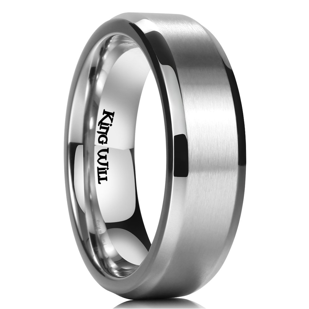 King Will Basic 7MM Titanium Ring Brushed/Matte Comfort Fit Wedding Band for Men (9) by King Will (Image #1)