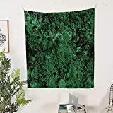 Polyester Fabric Wall Decor (51W x 60L INCH Wall Hanging Bedroom Living Room Dorm Home Decor TapestryRocky Moss-Like Marble Structured Granite Material Surface View Nature Artwork Green.