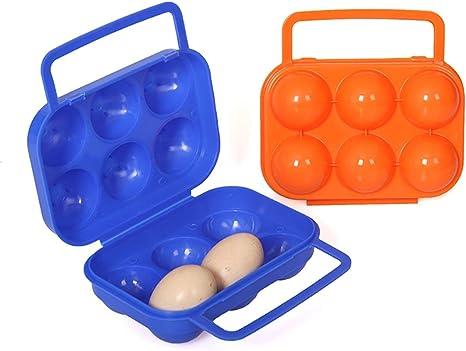 Portador de huevos Plástico Portátil 6 Huevos Estuche Contenedor Caja de almacenamiento de huevos Camping al aire libre para acampar al aire libre Senderismo Almuerzo Desayuno - Color aleatorio: Amazon.es: Deportes y