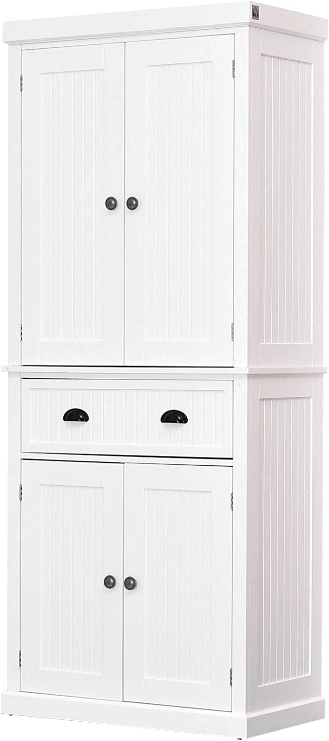 "HOMCOM 72"" Traditional Colonial Kitchen Pantry Cabinet with 2 Large Storage Areas, Drawer, and Adjustable Shelves, White: Furniture & Decor"