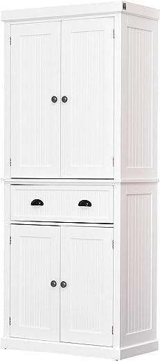 HOMCOM Storage Cabinet Cupboard Drawer Kitchen Pantry Home Organizer Furniture (White)