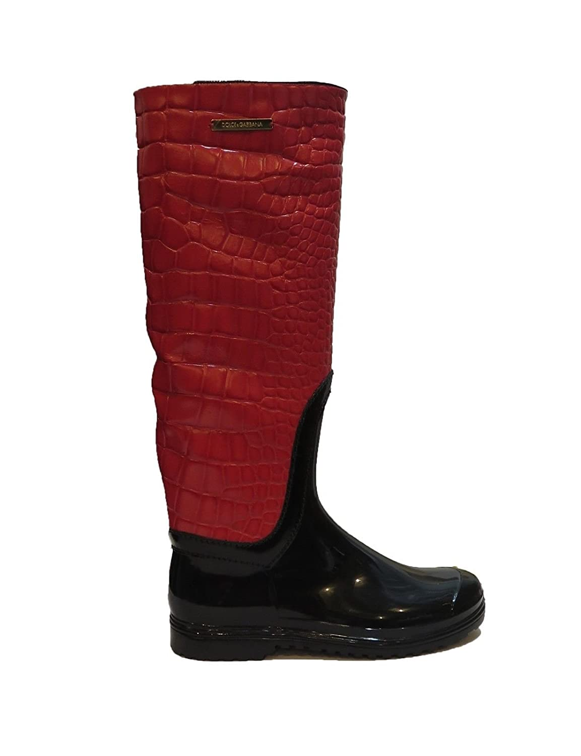 DOLCE & GABBANA Italy Woman's Red Crocodile Leather Rubber Rainboots Boots AA
