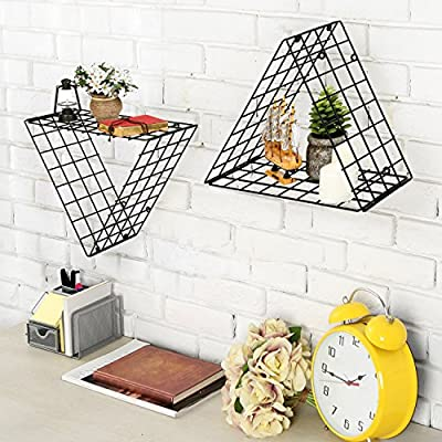 MyGift Set of 2 Triangle Black Metal Grid Floating Shelves Wall Mountable Display Racks - A modern set of 2 triangular shelves with walls made of metal bars in a grid design. Decorative display shelves can be mounted with the point facing upward or downward as your desire. Easy to attach to any wall using appropriate mounting hardware (not included). - wall-shelves, living-room-furniture, living-room - 61SrOZez CL. SS400  -