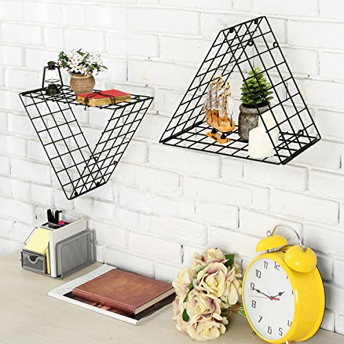Set of 2 Triangle Black Metal Grid Floating Shelves Wall Mountable Display Racks - Floating Triangle