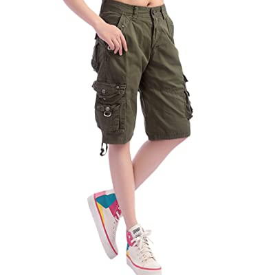 chouyatou Women's Casual Loose Fit Multi-Pockets Twill Bermuda Cargo Shorts | Amazon.com