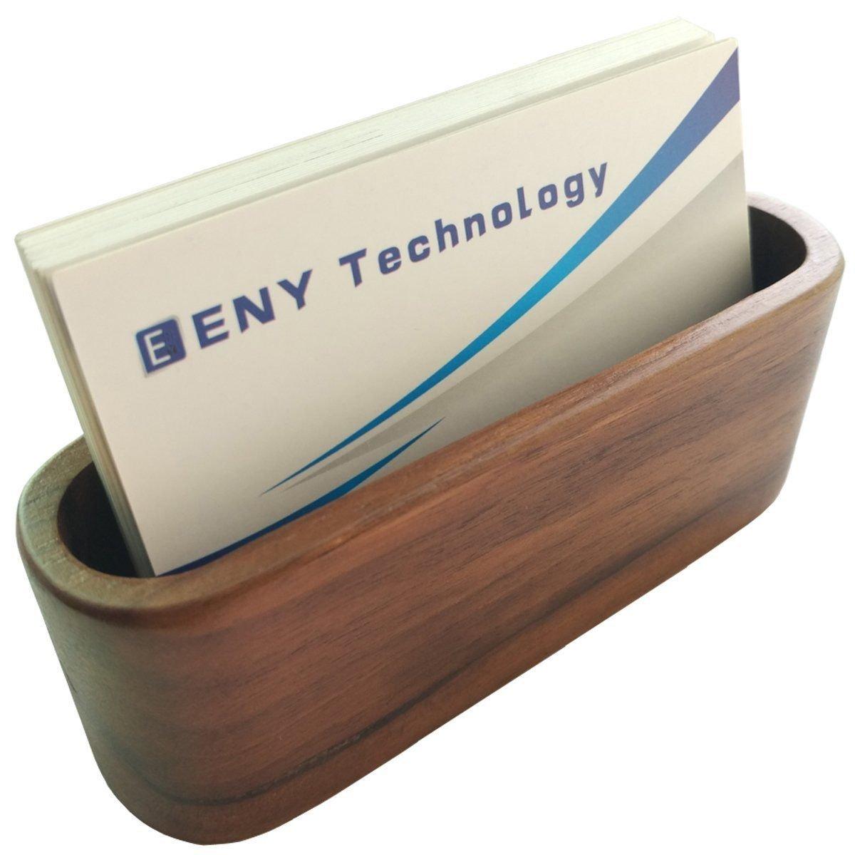 Chiloskit Wooden Business Card Holder Case Storage Card Box Organizer Name Card Display Shelf Ornaments Preamer