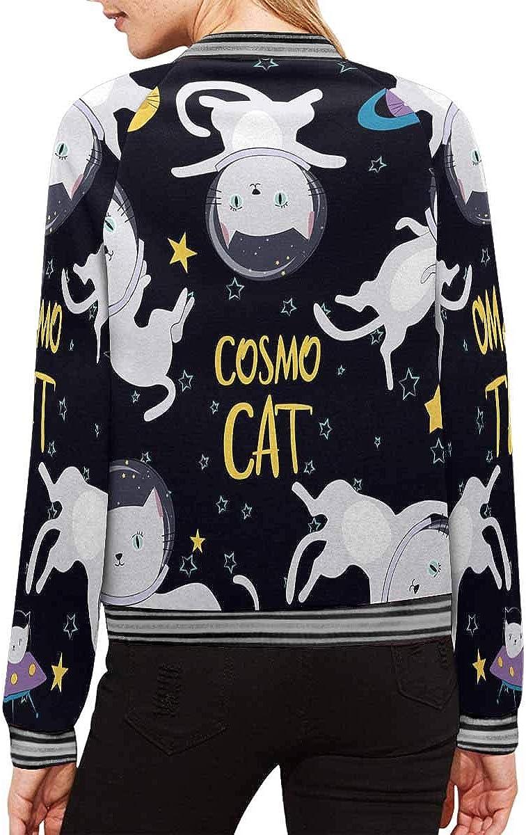 INTERESTPRINT Womens Cats Astronaut Space Jacket Zipper Coat Outwear