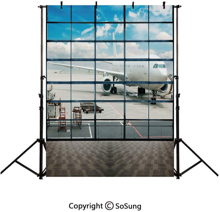 8x8Ft Vinyl Modern Decor Backdrop for Photography,Cityscape Office with Big Windows Clear Sunny Sky View Photo Background Newborn Baby Photoshoot Portrait Studio Props Birthday Party Banner